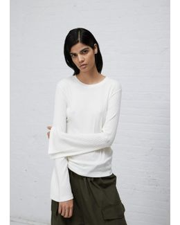 Off White Bell Sleeve Ribbed Top