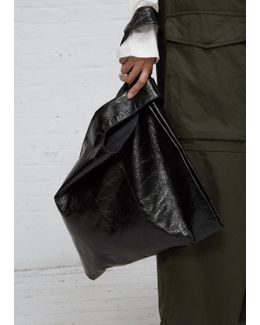 Black Mirror Synthetic Leather Shopper Bag