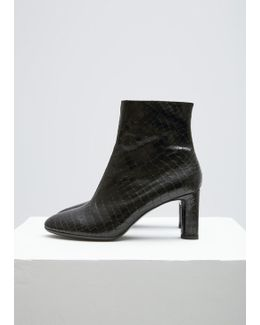 Black Croc Embossed Elte Ankle Boot