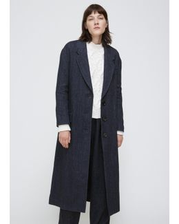 Navy Cade Wool Herringbone Coat