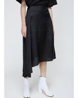 Black Asymmetrical Twill Skirt