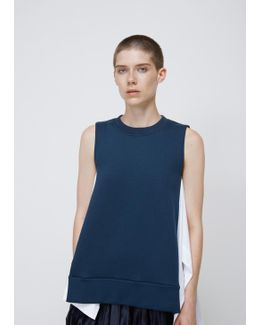 Dark Limoges / Lily White Sleeveless Sweatshirt