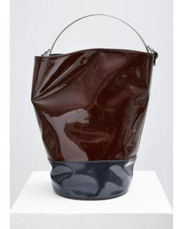 Denim Blue, Bordeaux Patent Bucket Bag