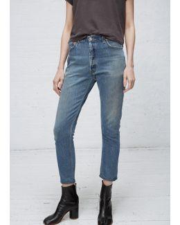 Denim High Rise Ankle Crop No Destruction Jean