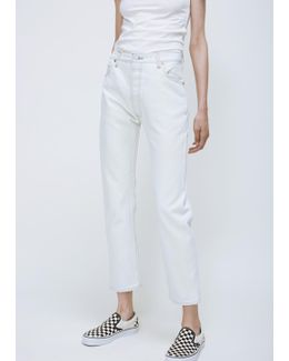 White Out High Rise Straight Crop No Destruction Jean