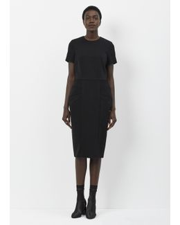 Black Short Sleeve Bubble Hip Dress