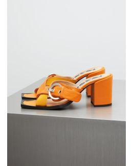 Orange High Heel Sandal With Buckle