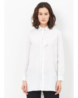 White Long Front Stand Button Down