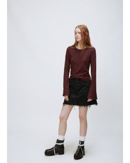 Bordeaux Bell Sleeve Ribbed Top