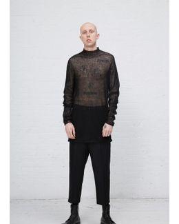 Black Alpaca Gauze Oversized Turtleneck Pullover