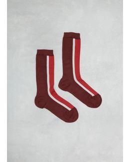 Raspberry Colorblock Rib Sock