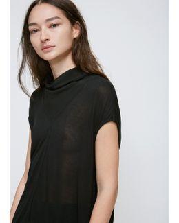 Black Cap Sleeve V-neck