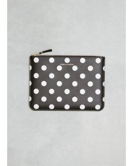 Black Dots Printed Leather Line Zip Pouch
