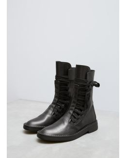 Vitello Lux Black Wide Lace Up Boot