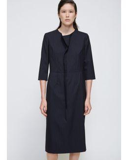 Navy 3/4 Sleeve Stripe Dress