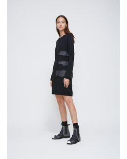 Black Long Sleeve Knit Rubbert Detail Dress