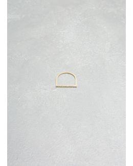 14k Yellow Gold White Diamonds Pave Flat Axis Ring