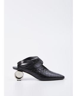 Black Crocodile Cylinder Heel Ballet Shoe