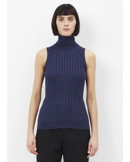 Blue Official Sleeveless Ribbed Turtleneck