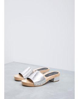 Metallic Silver Simple Slide Wedge Sandal