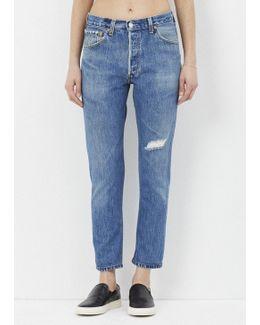 Denim High Rise Ankle Crop Destruction Jean