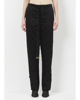 Black Quilted Drawstring Trouser
