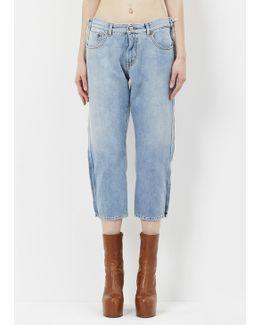 Light Blue 5 Pocket Pant Raw Edge