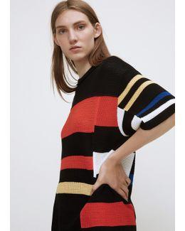 Black / Orange / Electric Blue Oversized Short Sleeve Crewneck Sweater