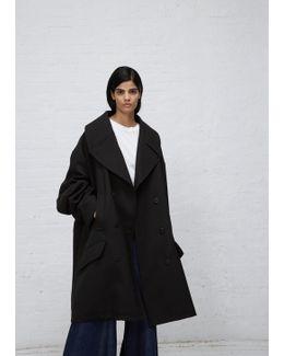 Black Oversized Wool Bonded Coat