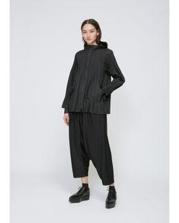 Black Pleated Jacket With Hood