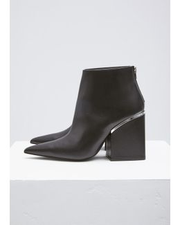 Black / Silver Pointed Toe Ankle Boot