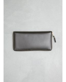 Black Classic Leather Line Large Zip Around Wallet