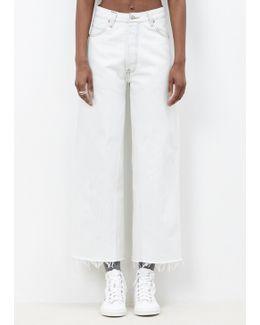 White High Rise Wide Leg Crop Jean