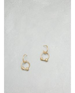 Gold Pierce Couple Earrings