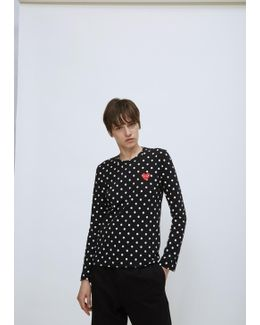 Embroidered Heart Polka Dot T-shirt