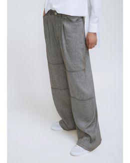 Black Melange Drop Trouser
