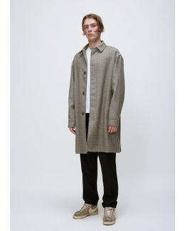 Grey Check Dropped Shoulder Coat