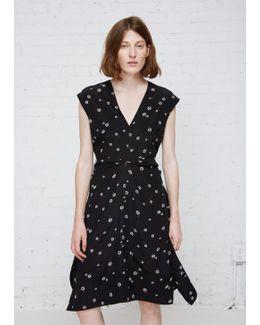 Black / White / Pumpkin Rocket Sunflower Printed Cap Sleeve Dress