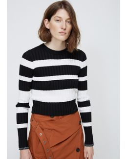 Black / Off White Striped Ribbed Knit
