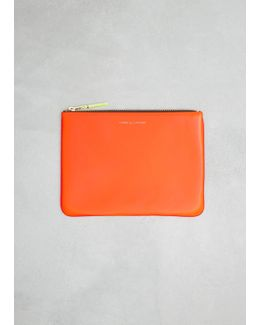 Orange / Pink Super Fluo Leather Line Zip Pouch