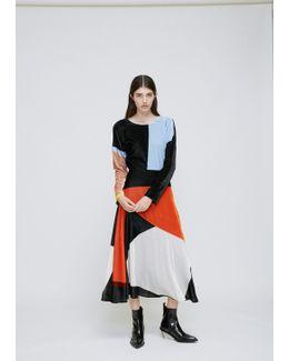 Orange / Grey / Ivory Velvet Dress