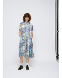 Multi Print Short Sleeve Rounded Collar Print Dress