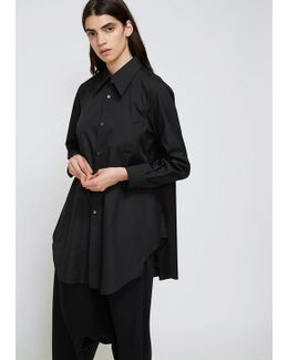 Black Long Sleeve Pointed Collar Shirt