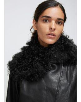 Black Leather Tara Jacket With Shearling Collar