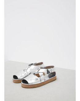 Silver Metallic Gradone Sandal
