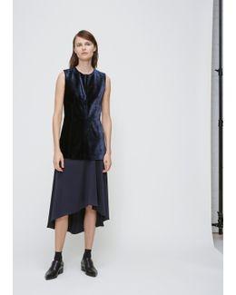 Navy Velvet Silk Combo Dress