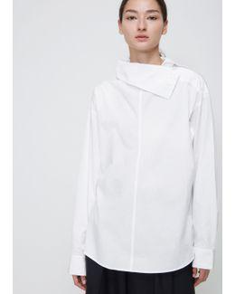 White U-shoulder Button Top
