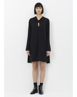 Black Long Sleeve Knot Flared Dress
