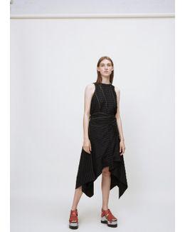 Black Sleeveless Tie Waist Dress