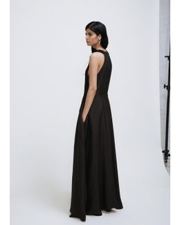 Black Front Pleated Panel Long Dress